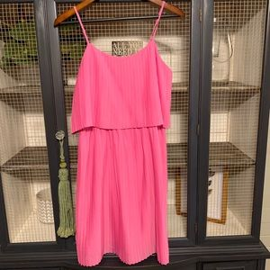 Pink Pleated Tiered Midi Dress